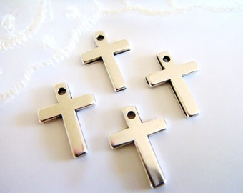 Silver Plated Cross Tiny Cross Charm Pendant Small Cross Metal Cross 10x14mm- 10 pieces