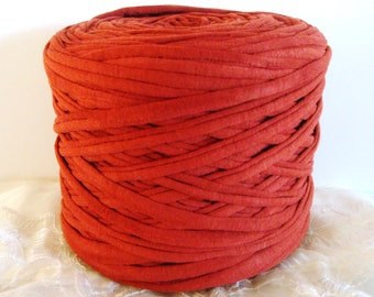 Dark Orange Cinnamon T-Shirt Yarn, Cotton T-Shirt Tricot, Fabric Jersey for Necklaces, Bracelets, Rugs and Bags - 2,7m/3 yards(1 piece)