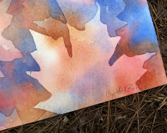"""Original water painting maple leaves fall foliage 8.5"""" x 11"""""""