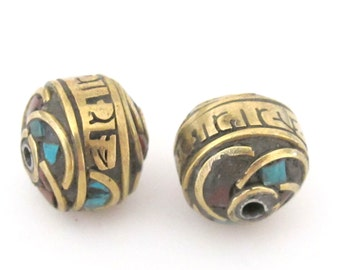 Tibetan script Om mani padme hum -  brass bead with turquoise coral inlay - 2 beads - BD389