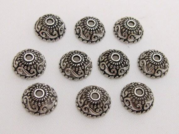 Tibetan floral design silver color bead cap 10 mm size - 10 pieces - BD406