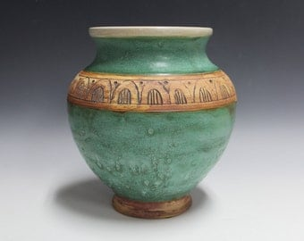 Green Pot with Carved Arches
