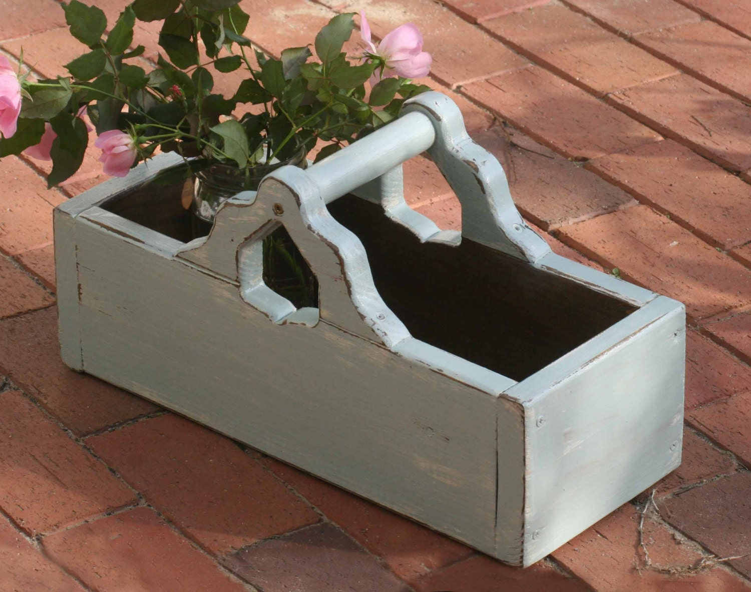 wooden garden tray entertaining serving tray caddy tote