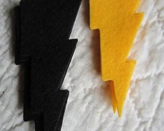 Felt Lightning Bolts-Super Hero Bolts for Costumes-Lightning Bolt Appliques-Party Decor-Weather Elements