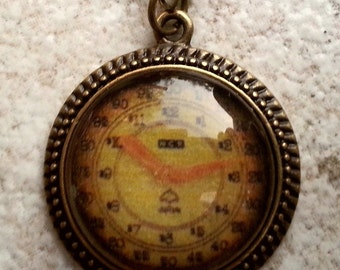 CLEARANCE Vintage Guage Glass Cameo Pendant in Antique Brass Setting with chain