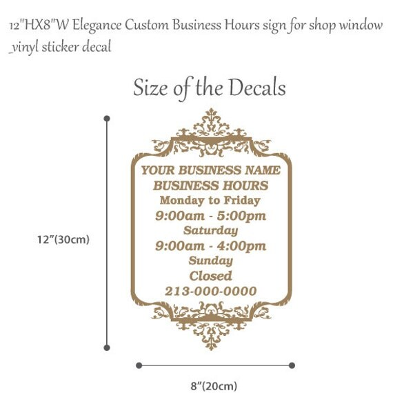 HXW Elegance Custom Business Hours Sign For - Cute custom vinyl stickers   for business