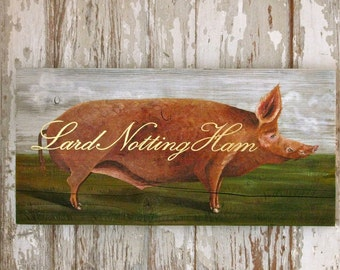 pig painting on reclaimed rustic solid wood Lard Notting Ham