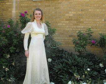 Gunne Sax Dress Ivory Satin Bridal Wedding Prairie Victorian Vintage 70s Lace 1970s Full 9 S