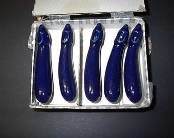 Vintage chopstick holders, with box, porcelain blue eggplants, vegetables, dinnerware,  very nice , 1940's