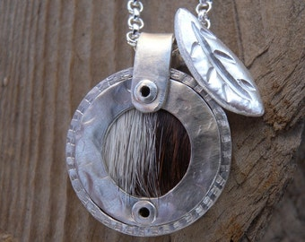 Sterling Hair on Hide Pendant with Leaf  Layering Necklace