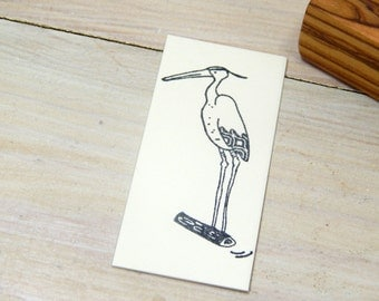 Handsome Heron Olive Wood Stamp