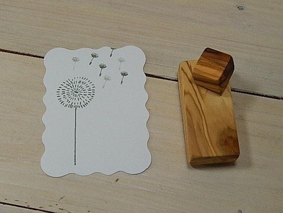 Dandelion and Seed Head  Olive Wood Stamp Set (2)