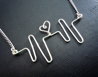 Heart Beat Silver Wire Necklace