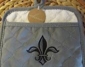 Pot Mitt (Pewter) - Napoleonic Fleur de Lis - Whim - 100% Cotton