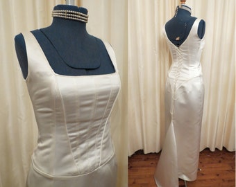 Vintage Corset Bust Ivory Satin Wedding Dress with Mermaid Tail Train Made in Australia