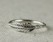 Feather Ring,  Sterling Silver Ring, Stacking Ring