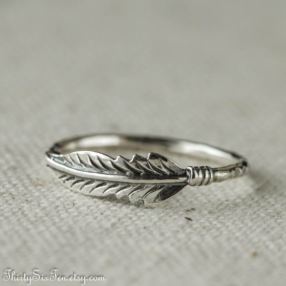 feather ring sterling silver ring stacking ring