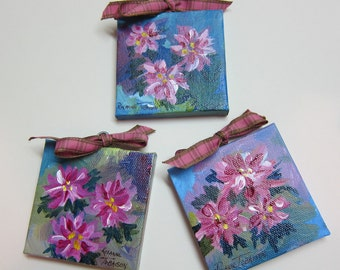 3 Floral Christmas Ornament 3 x 3 inch Acrylic Original paintings Canvas  Holiday pink