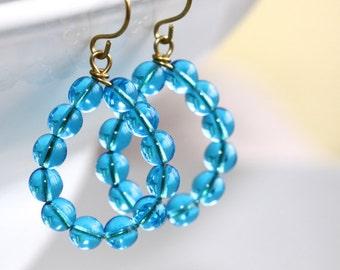 Blue Glass Hoop Earrings - 'Surfing Mariachi'