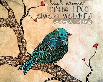 Sweet Soul / Blue Bird / original illustration ART Print SIGNED / 8 x 10 / NEW