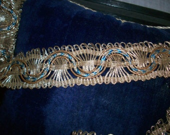 RARE french metal antique trim with color 1800s ,yardage