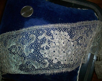 """25"""" of antique french silver lace trim 3"""" width"""