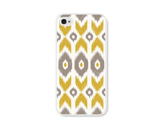 Mustard Yellow Geometric Ikat Apple iPhone Case - Available for the iPhone 4 and iPhone 5 Case - Gold Brown Tribal Southwest iPhone 4 Case