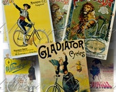 Vintage French Bicycle Advertisements Digital Collage Sheet Victorian Ads Cycling, Transport, Cycle Digital Download ATC #2 INSTANT Download