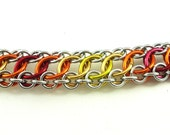Zeela Chainmaille Bracelet, AKA On The Edge, Fire Colors (Red, Orange, Yellow)