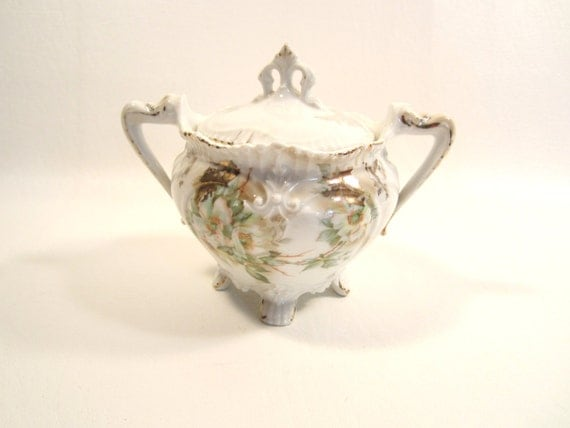 Vintage Footed Porcelain Lidded Sugar Bowl  Weimar Germany White with Gold Trim Flowers
