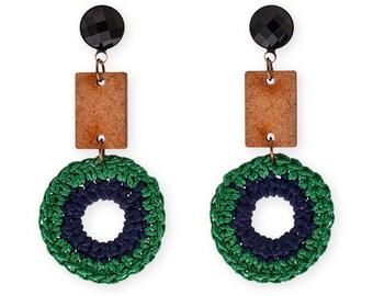 Green Dangle wooden earrings, Long Statement earrings, gift for her