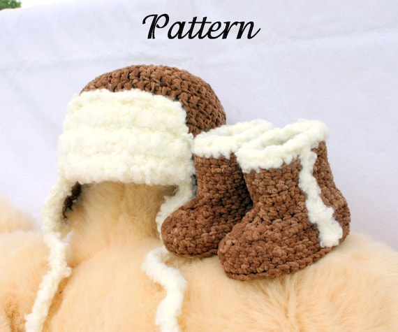 Crochet Pattern For Baby Pilot Hat : Baby aviator hat and boots PDF crochet PATTERN 0-3 months