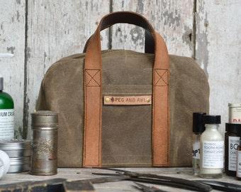Dopp Case in Truffle, Dopp Kit, Waxed Canvas Travel Bag, Toiletries Case, Waxed Canvas Dopp, Waxed Canvas Travel Case, Shave Kit, Groomsmen