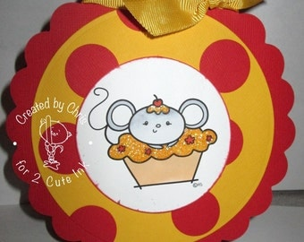 Birthday - Cupcake Mouse - very UNIQUE shape  -  OOAK card