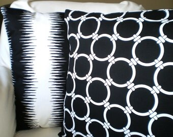 Black White Decorative Throw Pillow Covers Cushion Black White Jiri Stripe Pillow Case Decorative Pillow Couch Bed, Set of Two Various Sizes