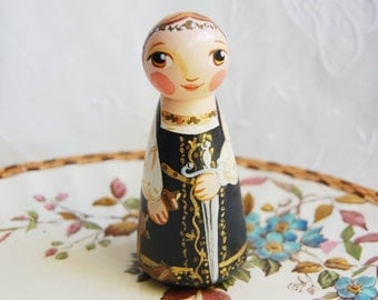 St Catherine of Alexandria Catholic Saint Doll - Catholic toy - Made to Order