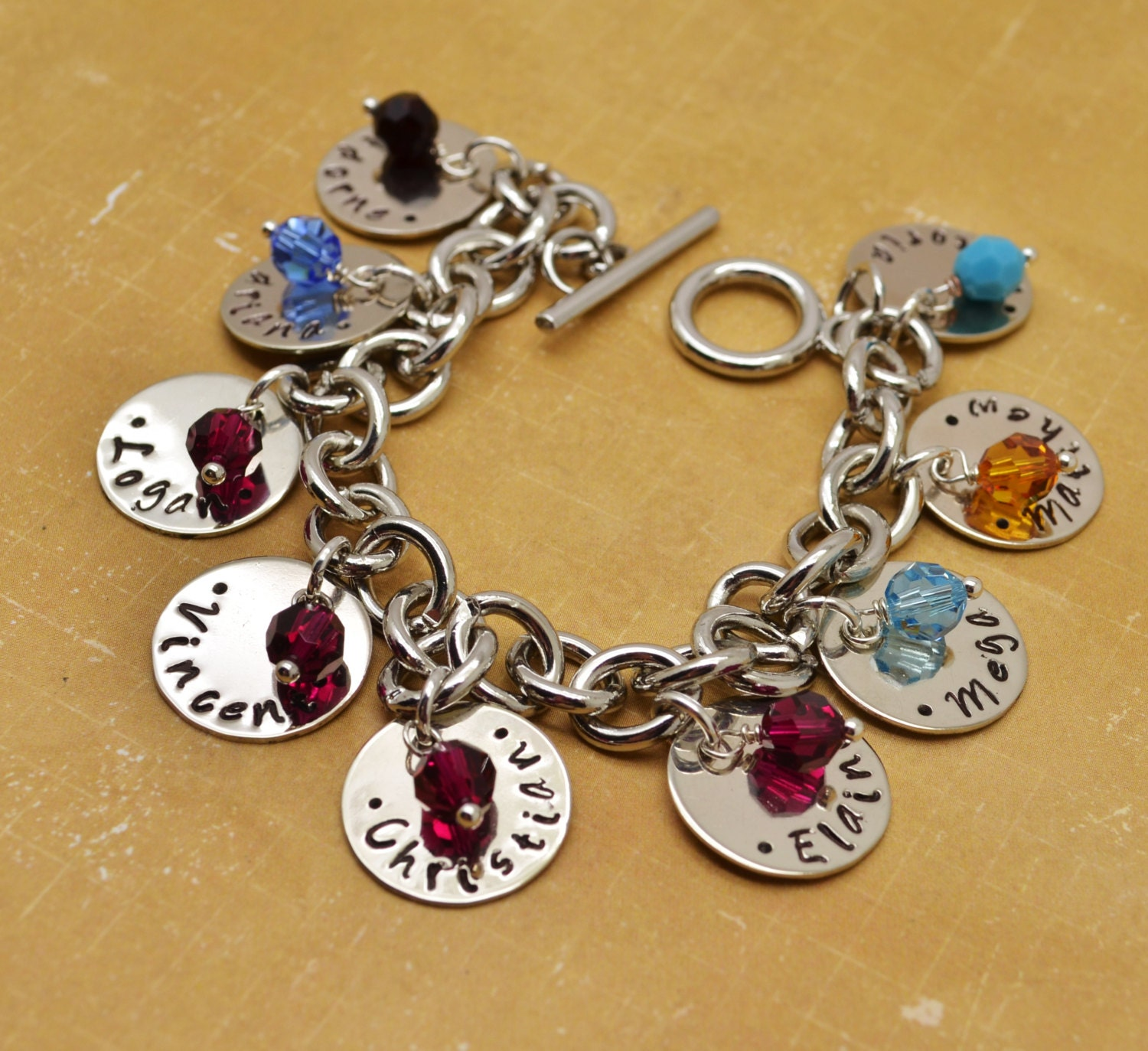 Hand Stamped Bracelet with Kids Names Personalized Bracelet