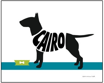 Personalized Bull Terrier Print, Dog Lovers Gift, Dog Memorial Gift, Terrier Silhouette Name Art