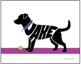 Personalized Jack Russell Print, Custom Dog Name Art, Terrier Silhouette Wall Decor, Dog Memorial Gift