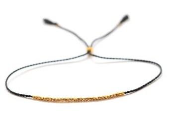 Delicate gold bracelet. Silk bracelet. Friendship bracelet