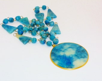 SALE Vintage Blue Aztec Sun Goddess Pendant Necklace, Jewelry