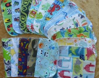 20 Boys Mixed Print, Reusable Cloth Baby Wipes, Cloth Napkins