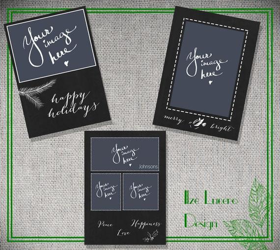 Items similar to Chalkboard Christmas Card templates PSD on Etsy