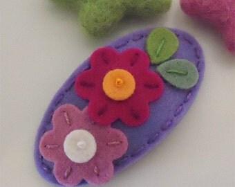 Felt hair clip -No slip -Wool felt -Flora -lavender