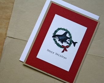 Orca Whale. Holiday Wreath with Whales Happy Holidays Berry Red Handmade Greeting Card
