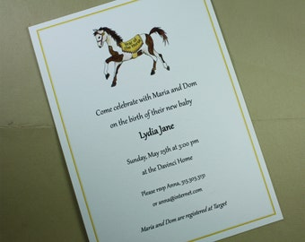 Baby Shower Invitation, Horse Rocking Horse, Year of the Horse Custom Personalize Watercolor Print, Set of 10