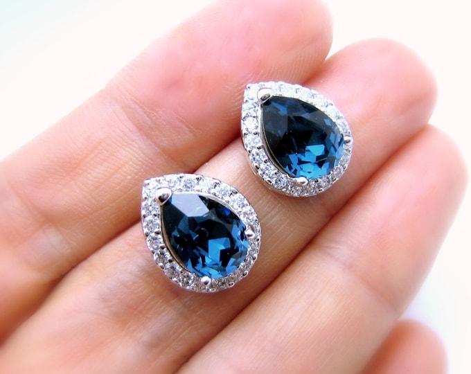 SALE- SET of 3 4 5 6 7 8 pairs bridal wedding earrings bridesmaid gift teardrop cubic post rhodium swarovski montana navy blue fancy crystal
