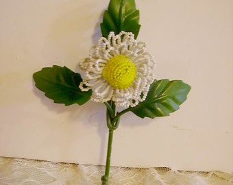 Lovely Vintage French Beaded Flower Tole Wall Hook