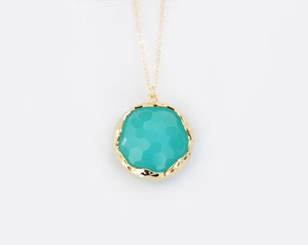 Mint Glass Pendant Necklace - Miabell