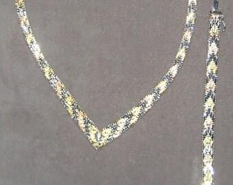 Totaly 80s Sterling Silver Tri Color Woven Set Bracelet Necklace
